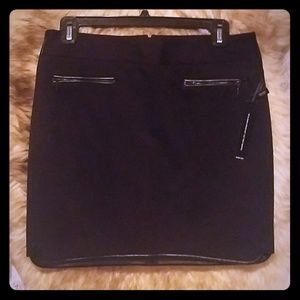 New with tags Black ponte skirt with leather trim